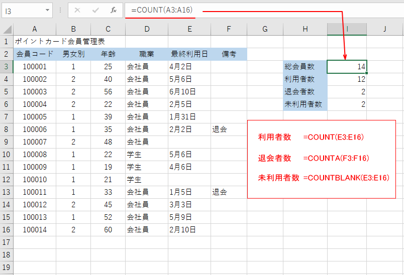 COUNT関数の使用例