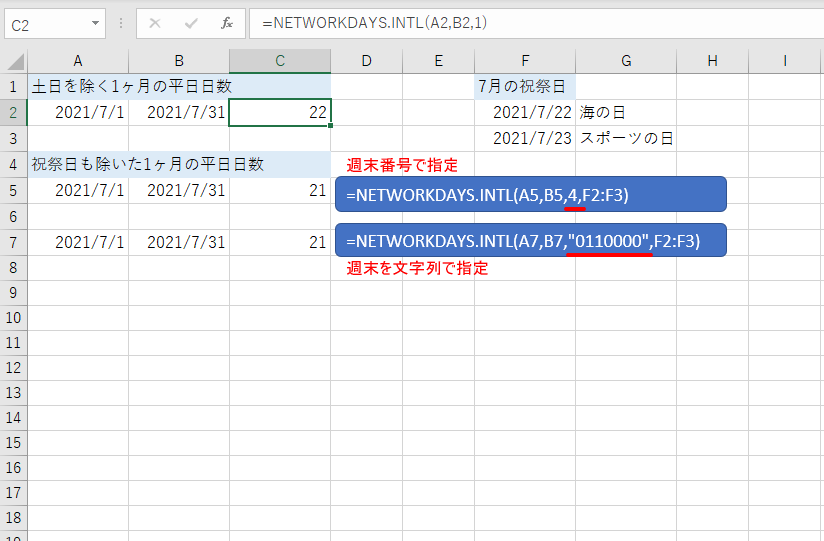 NETWORKDAYS.INTL関数の使用例