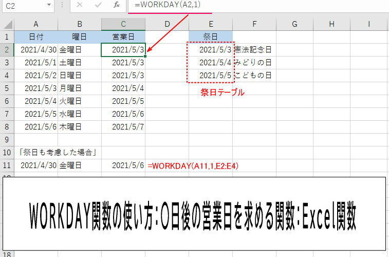 WORKDAY関数の使い方:〇日後の営業日を求める関数:Excel関数